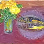 """Yellow Roses with Purple Plate"" by Linn Bae $800 Oil on Canvas"